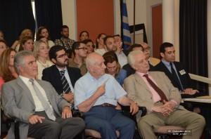 Φωτογραφικό στιγμιότυπο από το κοινό που παρακολούθησε την εκδήλωση στο οποίο διακρίνονται οι κ.κ. Αθανάσιος Ράντος, Αντιπρόεδρος ΣτΕ, Βασίλειος Ρήγας, Αρεοπαγίτης επί τιμη, Πρόεδρος της Ένωσης Ελλήνων Δικονομολόγων και Διευθυντής ΑΚΚΕΔ ΠΡΟΜΗΘΕΑΣ, Νικόλαος Φλαμουράκης, Δικηγόρος, Σύμβουλος και Πρόεδρος της Επιτροπής Διαμεσολάβησης ΔΣΗ, Δέσποινα Στειροπούλου, Δικηγόρος, Διαμεσολαβήτρια και μέλος της Επιτροπής Πιστοποίησης Διαμεσολαβητών του ΥΔΔΑΔ